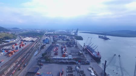 santos : Aerial view Port of Santos - Container ship being loaded at the Port of Santos, Brazil. July, 2016 Stock Footage