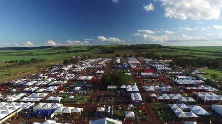 farm in brazil : SAO PAULO, BRAZIL - May 1, 2017: Aerial view of Agrishow, 24th International Trade Fair of Agricultural Technology taking place in Ribeirao Preto. Stock Footage