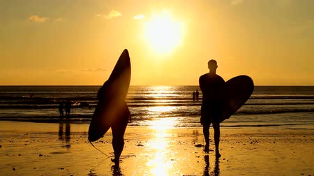 серфер : Surfer couple in silhouette holding long surf boards at sunset on tropical beach