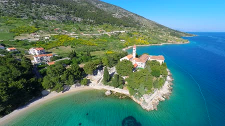 dominik : View of beautiful Dominican monastery in Bol on island of brac, Croatia. Stok Video