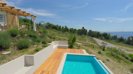 holiday villa : Aerial view of beautiful Villa Mir i More in Bol on island of brac, Croatia.