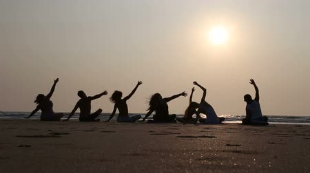 goa beach : GOA, INDIA - 19 JANUARY 2015: People practicing yoga at a sandy beach in Goa at sunset.