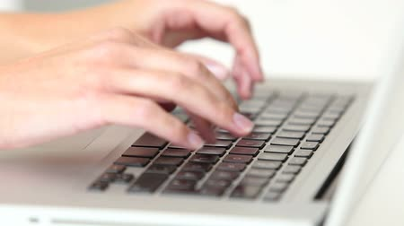 womans hand : Womans hands typing on laptop keyboard