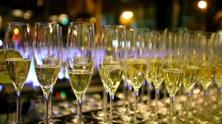 szampan : Glasses filled with champagne on bar counter Wideo