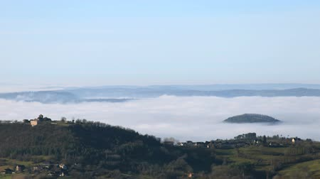 time lapse clouds : timelapse of mist over the dordogne valley in France