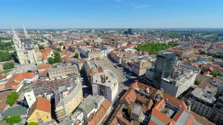 bird's eye view : Aerial view of central Zagreb with Zagrebs cathedral. Stock Footage
