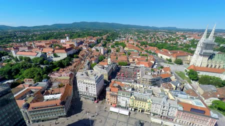 catedral : Aerial view of central Zagreb with Zagrebs cathedral and Ban Jelais square.