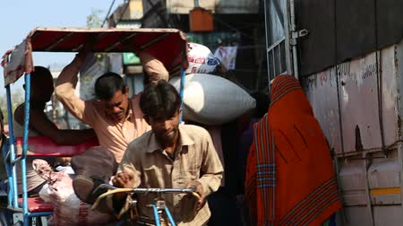 разнообразие : DELHI, INDIA - 4 MARCH 2015: People transporting load and other passengers coming down the street in Delhi. Стоковые видеозаписи