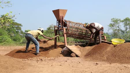 černoch : GOA, INDIA - 26 JANUARY 2015: Indian men digging soil using hoes in Goa.