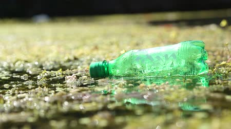 plastics : Green plastic bottle on wet floor. Stock Footage