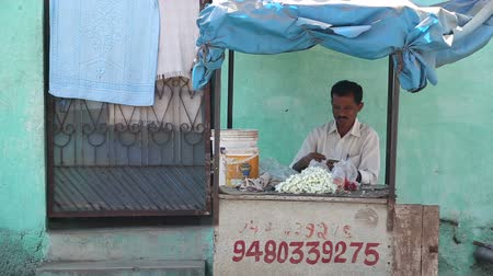 yasemin : HAMPI, INDIA - 28 JANUARY 2015: Man standing behind his stand selling flower necklaces on the street.