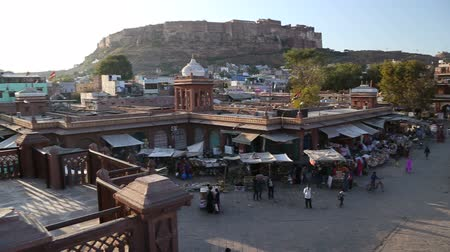 local population : Panoramic aerial view of street market and busy street in Jodhpur.
