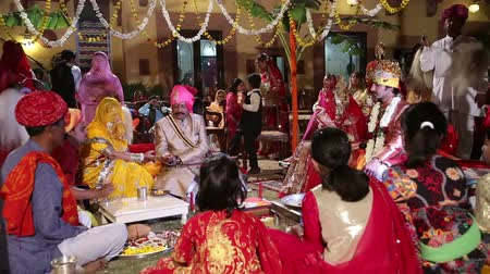 indian ethnicity : JODHPUR, INDIA - 15 FEBRUARY 2015: Ceremony of traditional hindu wedding in Jodhpur.