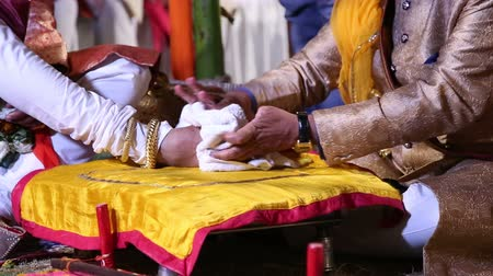 indian ethnicity : Ceremony part of traditional hindu wedding in Jodhpur.