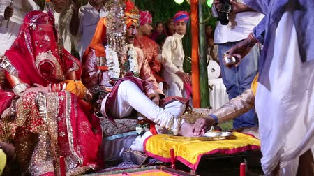 indian ethnicity : JODHPUR, INDIA - 15 FEBRUARY 2015: Ceremony part of traditional hindu wedding in Jodhpur.