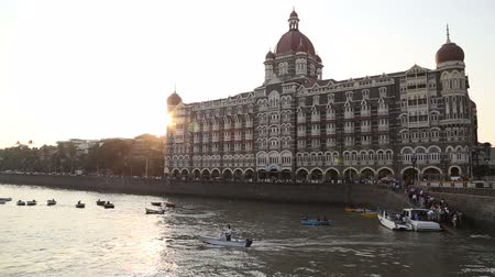 capital cities : Sunset at the city bay in Mumbai.