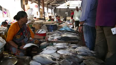рынок : MUMBAI, INDIA - 11 JANUARY 2015: Indian woman selling fish at a market in Mumbai. Стоковые видеозаписи