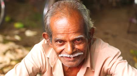 asian and indian ethnicities : HIKKADUWA, SRI LANKA - MARCH 2014: Portrait of local man with moustache selling at Hikkaduwa Sunday market, known for its wide range of fresh and varied produce. Stock Footage