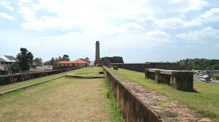 bitki : Tracking shot of the Galle fort walls protecting the main town.