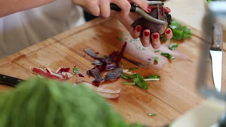 peeler : Close-up of woman hands peeling beetroot with peeler Stock Footage