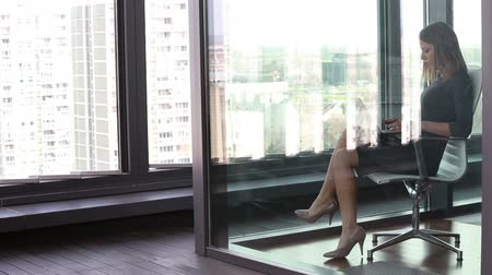 window room : Beautiful young businesswoman sitting on chair with laptop behind glass wall