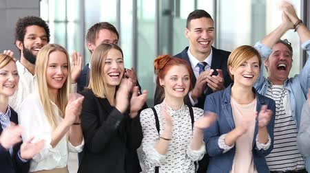 kişi : Portrait of happy business people clapping Stok Video