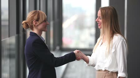 pozitivní : Profile of two attractive blonde businesswoman shaking hands