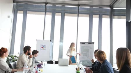 sala de reuniões : Beautiful young businesswoman pointing at flipchart on a meeting with colleagues Vídeos