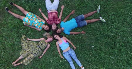 над : Aerial view of five beautiful young friends forming a star shape lying in grass