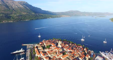 východní : Aerial view of beautiful city of Korcula on the protected east coast of the island of Korcula in the Adriatic, Croatia