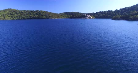 kayak : Aerial view of people kayaking in Big Lake of Mljet National Park.