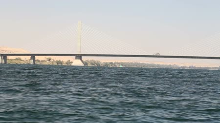 aswan : New Aswan bridge over Nile river Stock Footage