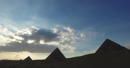 piramit : View of Giza pyramids in the evening, Egypt