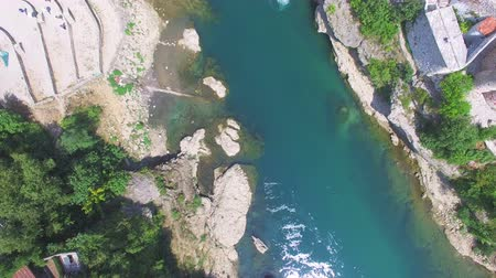 bosnia and herzegovina : Aerial view of bathing spot on Neretva river in Bosnia Stock Footage