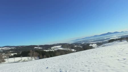 luge : Small girl sledging down hill in snow in mountains on sunny day Stock Footage