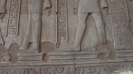 hieroglifa : Hieroglyphic carvings on an ancient egyptian temple wall