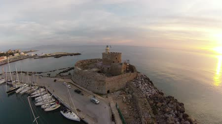 греческий : Air view on Fort Saint Nicolas Rhodes, Summer early morning in Greece