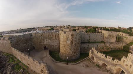 rhodes :  Knights Grand Master Palace in Rhodes Island, Greece. The Palace of the Grand Master of the Knights of Rhodes is a medieval castle in the city of Rhodes. Air view. Stock Footage