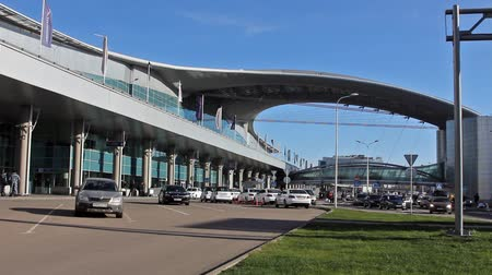 d day : MOSCOW, 19 OCT 2014. Driving thru Sheremetyevo airport. Terminal D, department zone 3d floor Stock Footage