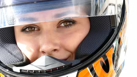 helmets : Woman in motocross helmet, close up view Stock Footage