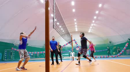 röplabda : MOSCOW - JAN 31, 2016: Group of adult people plays volleyball in gym.