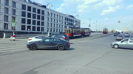 electric vehicle : APR 20, 2018, MOSCOW, RUSSIA: Parade of trams that were used in Moscow. Vintage trams go along the streets of the city.