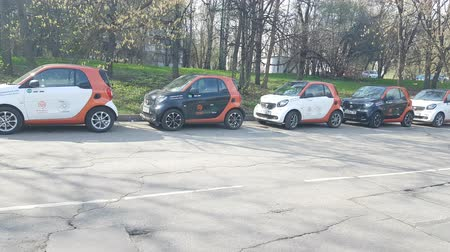 car rental : APR 30, 2018, MOSCOW, RUSSIA: Group of carsharing car on the street. New business in Russia. In 2017 organised 8 carsharing company in Moscow.