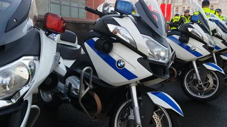 motorcycles : MAY 05, 2018 MOSCOW, RUSSIA: Russian road polis officers team on the street.