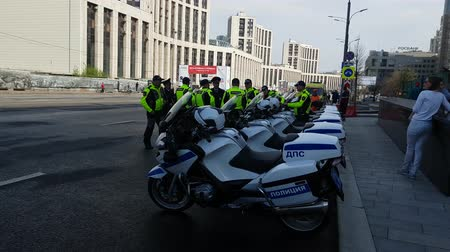 maintenance : MAY 05, 2018 MOSCOW, RUSSIA: Russian road polis officers team on the street.