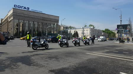 public officer : MAY 05, 2018 MOSCOW, RUSSIA: Russian road polis officers team on the street.