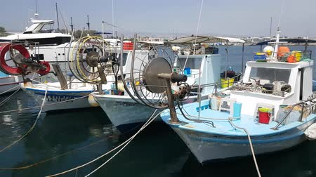 industrial fishing : MAY 22, 2018, PAPHOS, CYPRUS: Small Fishing Boats In Paphos Harbor, Mediterranian sea, Cyprus.