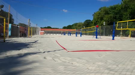 beach volleyball : JUN 01, 2018, MOSCOW, RUSSIA Empty Beach Volleyball court in Gorky park