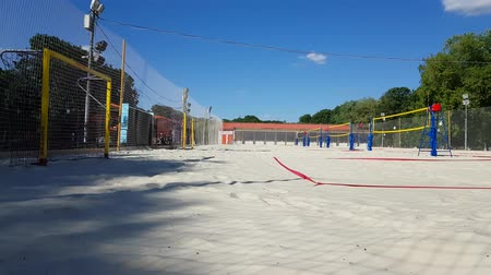 tripping : JUN 01, 2018, MOSCOW, RUSSIA Empty Beach Volleyball court in Gorky park