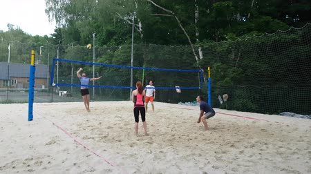 tripping : JUN 17, 2018, MOSCOW, RUSSIA People on Beach Volleyball court in Sokolniki